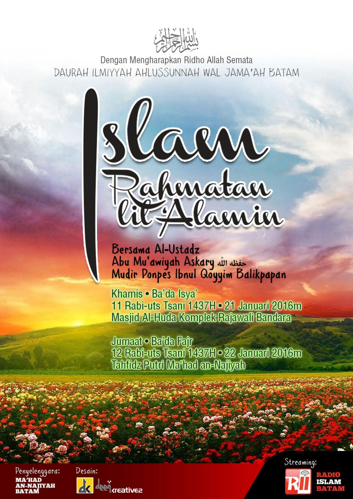 """Pamflet Hadirilah Muhadhoroh umum """" ISLAM RAHMATAN LIL'ALAMIN"""" 21/01/2016"""