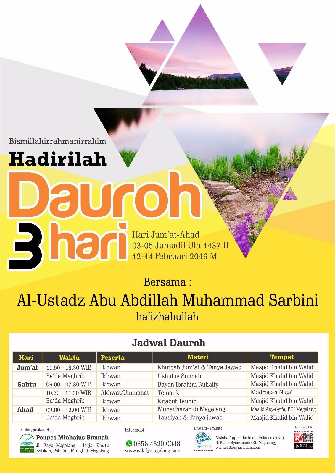 Pamflet Hadirilah Muhadhoroh 3 hari di magelang 12-15/02/2016