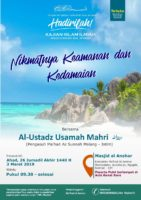 "Hadirilah Kajian Islam ILmiah "" Nikmatnya Keamanan dan Kedamaian"" 3/03/19"